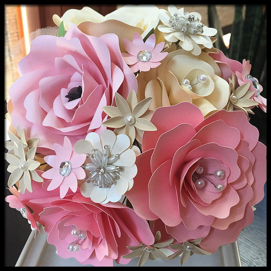 Pink Cream Bridal Bouquet Wedding Bouquet Paper Flowers