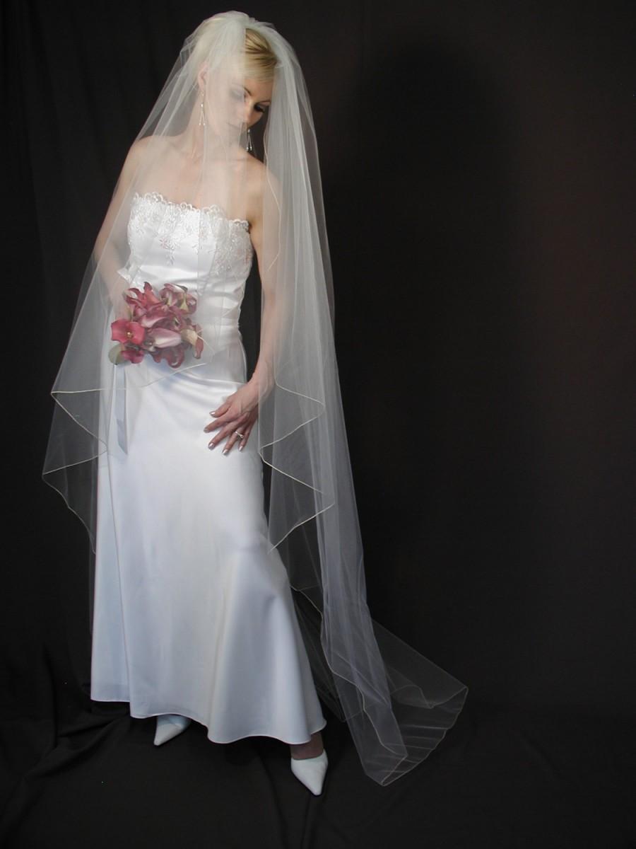 "Mariage - Angel Cut wedding veil. Water fall/Angel veil 75"" long."