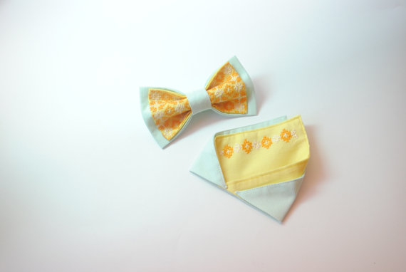 Wedding - Mint striped&yellow bow tie and matching pocket square Pre folded pocket square Noeud papillon et correspondant pocket à la place de poche