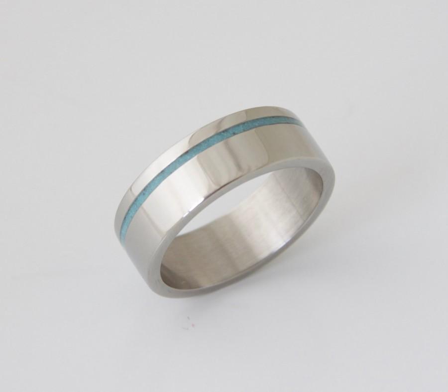 Свадьба - Mens Titanium and Turquoise wedding band turquoise ring titanium turquoise ring