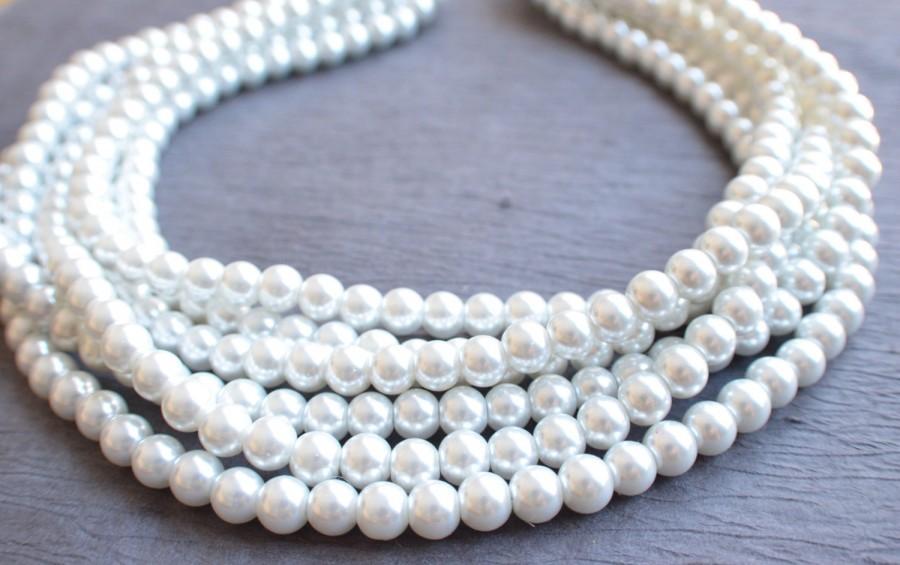 زفاف - The Michelle- White Glass Pearl Statement Necklace