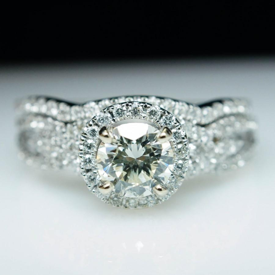 Round Diamond Halo Engagement Ring 14k White Gold & Matching Wedding Band Plete Bridal Set Diamond Engagement Ring
