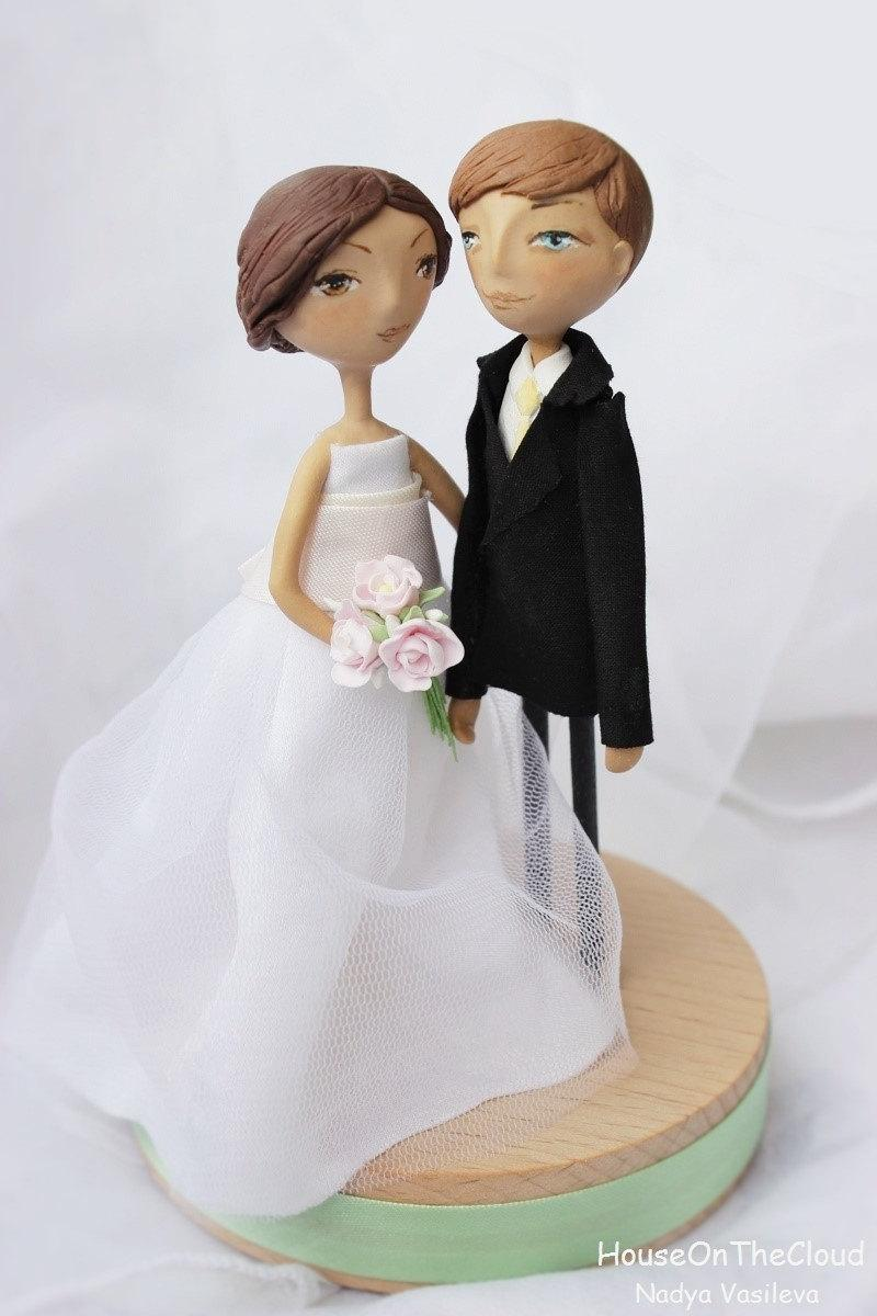 Свадьба - Rustic Wedding cake topper Handmade, Bride and Groom