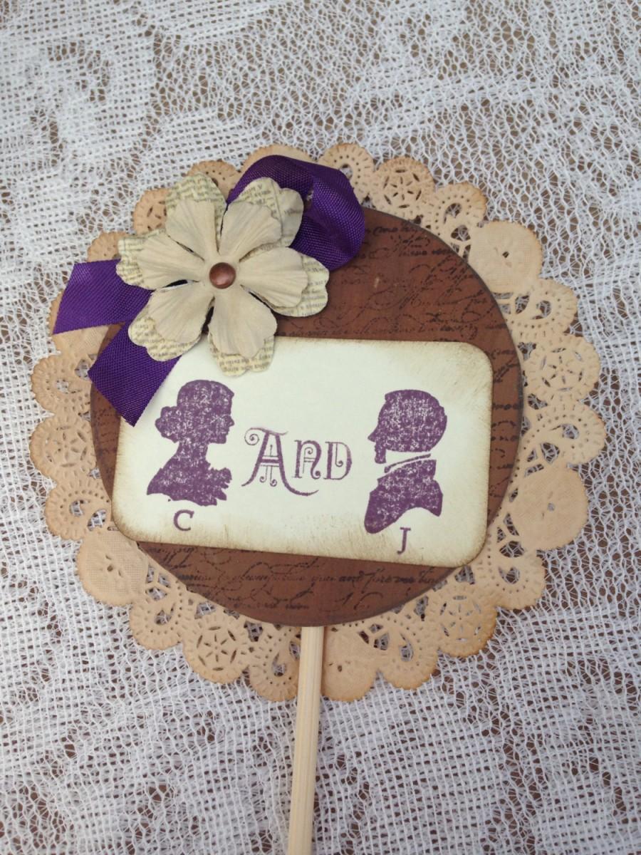Hochzeit - Cake topper- Shabby chic wedding Vintage wedding, purple wedding Rustic wedding ,vintage wedding