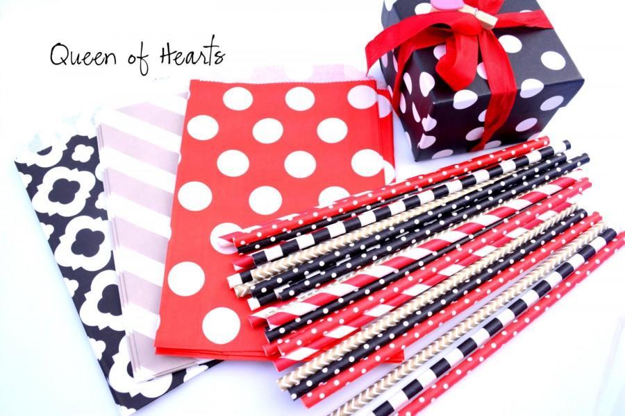 Hochzeit - Queen of Hearts -Red, Black, Gold Paper Straws *Alice in Wonderland -Red Stripes -Polkadot -Black Straws -Red Straws -GOLD -Cocktail Party
