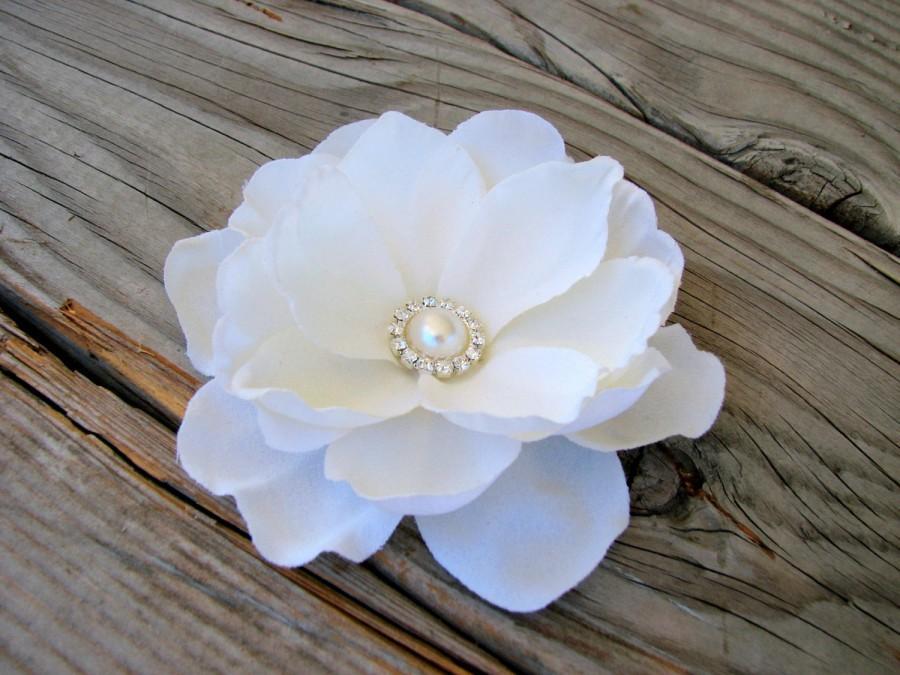 Wedding - Bridal Ivory Magnolia Flower Fascinator Pearl Rhinestones Hair Clip Wedding Floral Head Piece Brooch or Dress Sash Pin Back 07542MD07