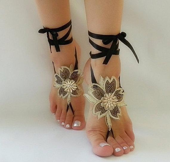 Wedding - Black gold frame Beach wedding barefoot sandals,Black Barefoot Sandals, Sexy, Yoga, Anklet , Bellydance, Steampunk, Beach Pool