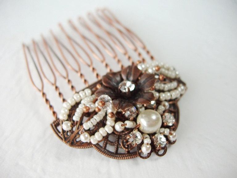 Свадьба - Bridal Hair Jewelry. Wedding Hair Comb. Hair Accessories for Vintage Style Wedding. Bridal Hairpiece