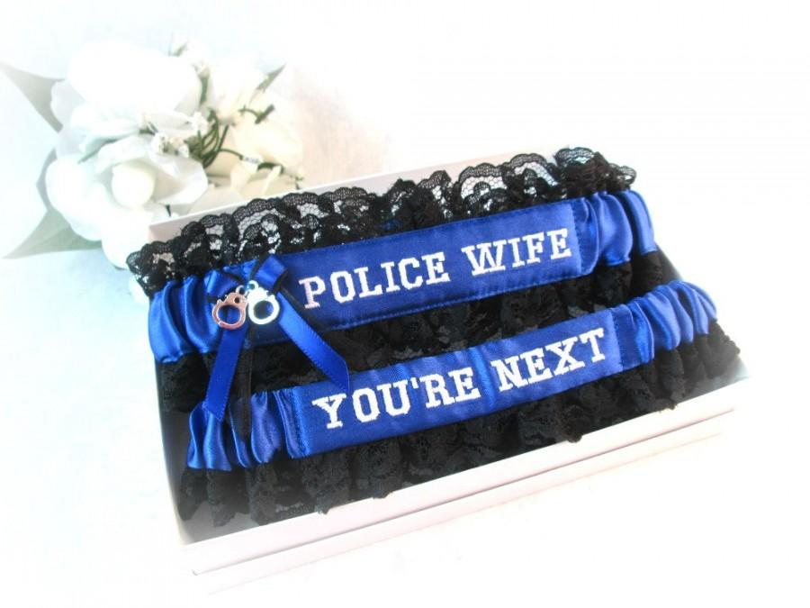 Свадьба - Handcrafted Embroidered Police Garter -  Police Wife Garters - You're Next garter - Blue line police garters - Something blue garters.