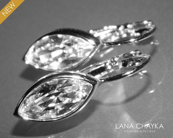 Hochzeit - Crystal Wedding Earrings Swarovski Navette Earrings Crystal Lever Back Vintage Style Earrings Wedding Bridesmaid Jewelry Sparkly Earrings