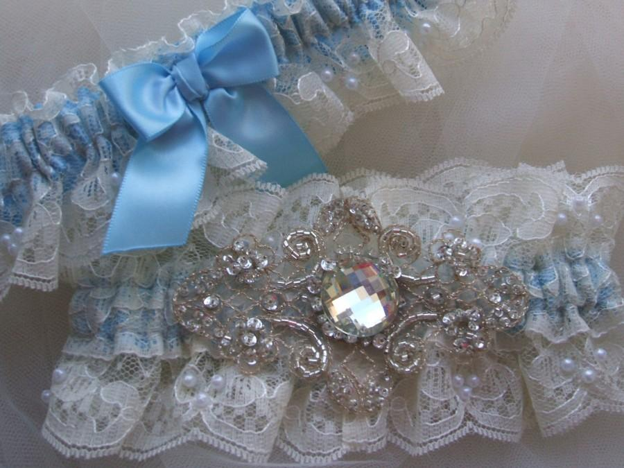 Свадьба - Wedding Garter,Light Blue Garter, Blue Garter Set, Heirloom Garter-Lace Garter