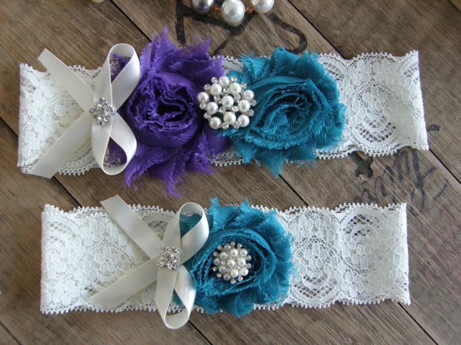 Свадьба - Garter / Purple / Teal / Vintage Inspired Lace Garter / Wedding Garters / Bridal Garter / Toss Garter / Garter Set