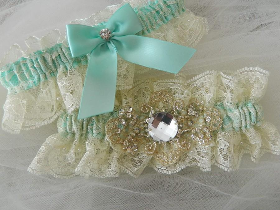 Свадьба - Bridal Garter Set, Aqua Blue And Ivory Chantilly Lace Garter