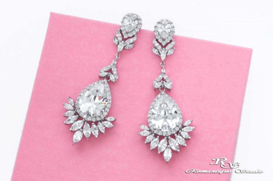 Mariage - Bridal jewelry, Long wedding earrings, Long crystal earrings, Cubic zirconia earrings, Bridal drop earrings, Prom earrings, Art Deco 1377
