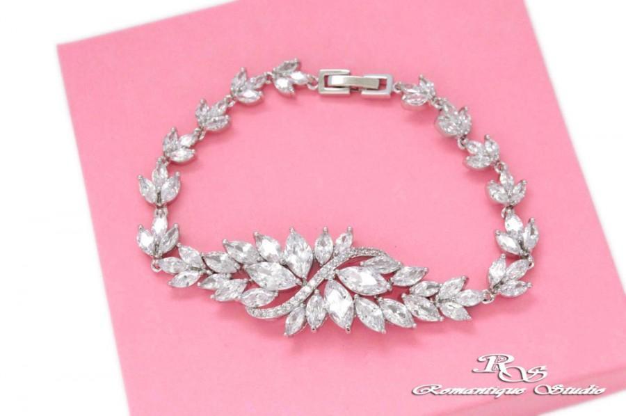 Mariage - Bridal bracelet Crystal Wedding Jewelry Art Deco CZ bracelet Prom bracelet Victorian bracelet vintage Swarovski crystal bracelet  B0176