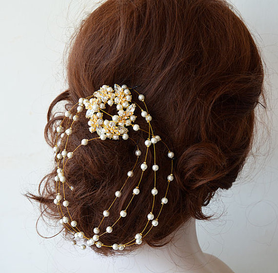 Boda - Bridal Hair Accessories, Gold Wedding Headband, Rhinestone and Pearl Headband, Wedding hair Accessory, Hair Accessory, Hair Jewelry
