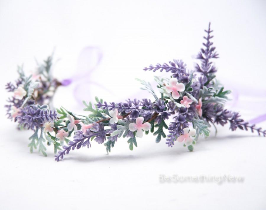 Свадьба - Lavender Wildflower Flower Crown Boho Wedding Floral Headpiece, Wedding Hair Accessory Lavender Flower Halo