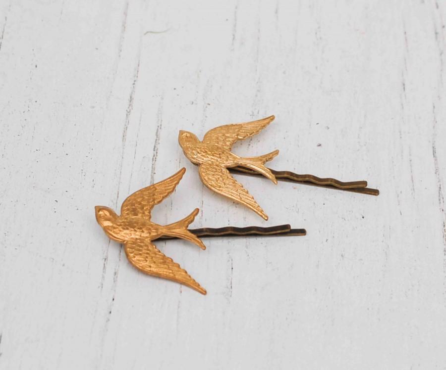 Свадьба - Gold BIRD Bobby Pins Woodland Wedding Boho Autumn Romantic Whimsical