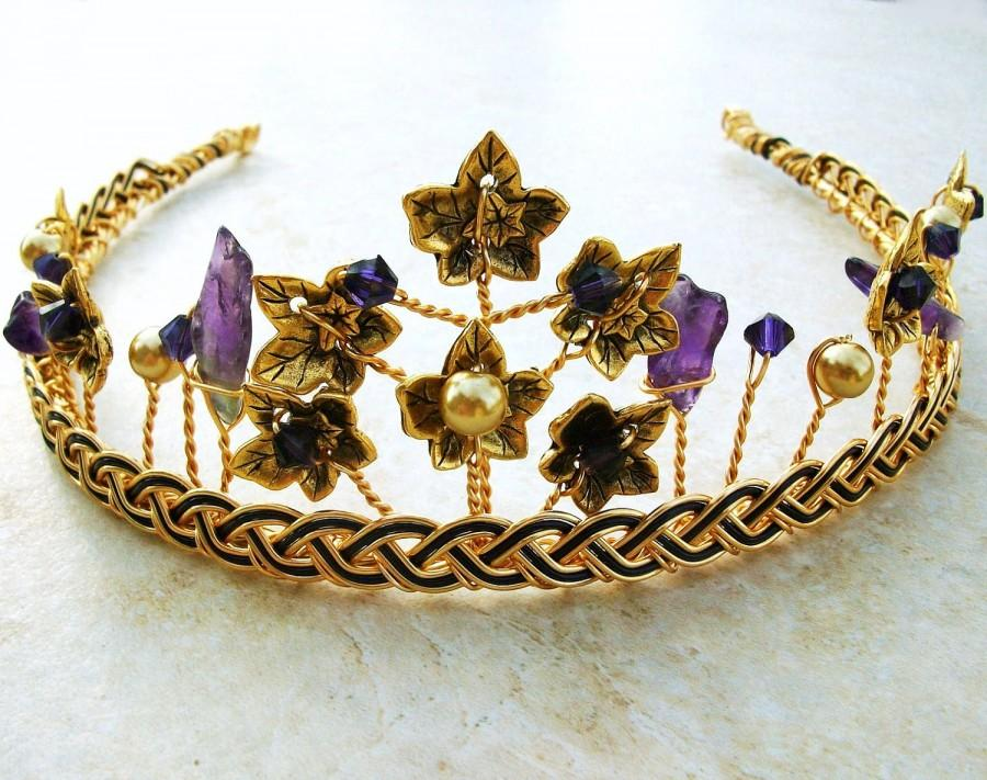 Wedding - Celtic Gold Tiara Amethyst with Ivy Leaf