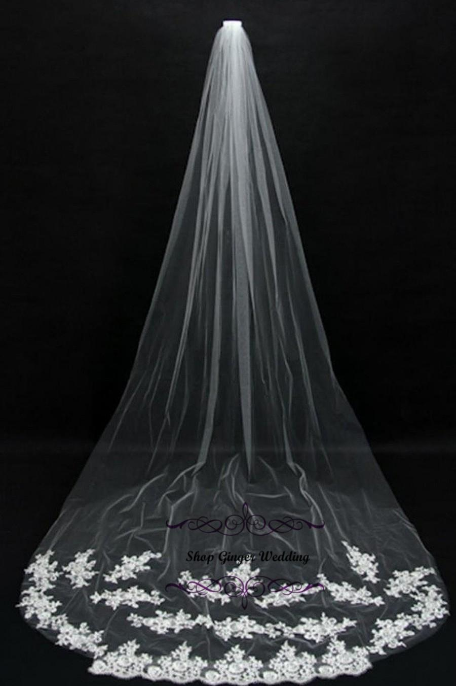 Mariage - Cathedral Royal 1 Tier Tailor Custom Handmade Lace Wedding Bridal Cut Edge Veil White or Ivory