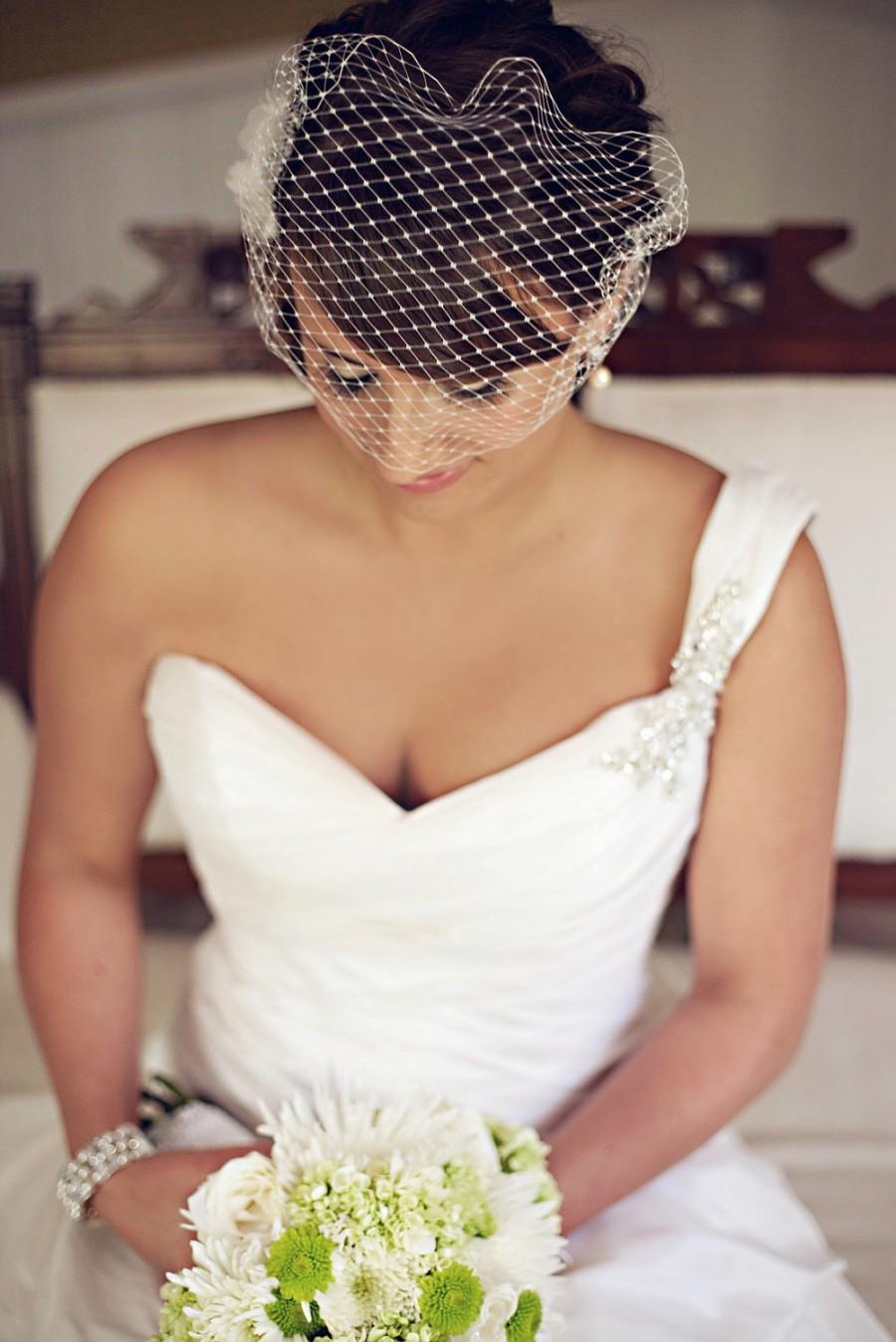 Mariage - Bandeau Birdcage Veil, Birdcage Veil, Bridal Veil, White, Off White, Ivory, Blush Pink, Champagne -Style 102