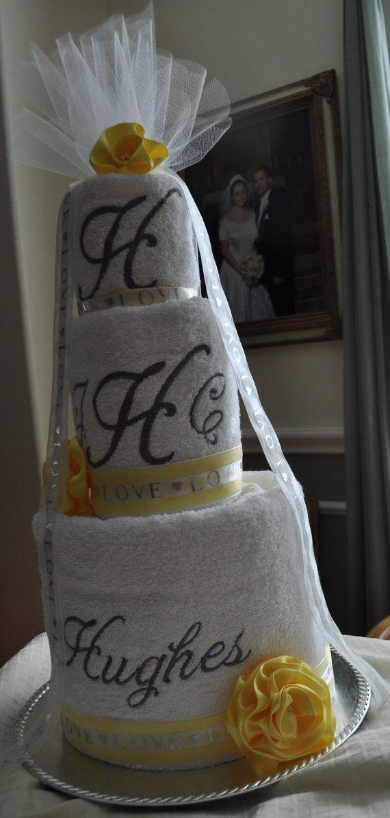 wedding shower monogrammed towel cake free shipping