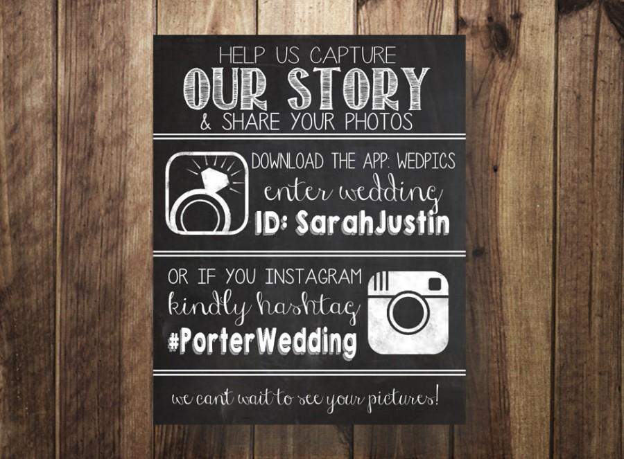 Mariage - Wedpics and Instagram Hashtag Sign, Wedding Hashtag, Instagram, Wedpics, Rustic Wedding, Chalkboard, Printable Art