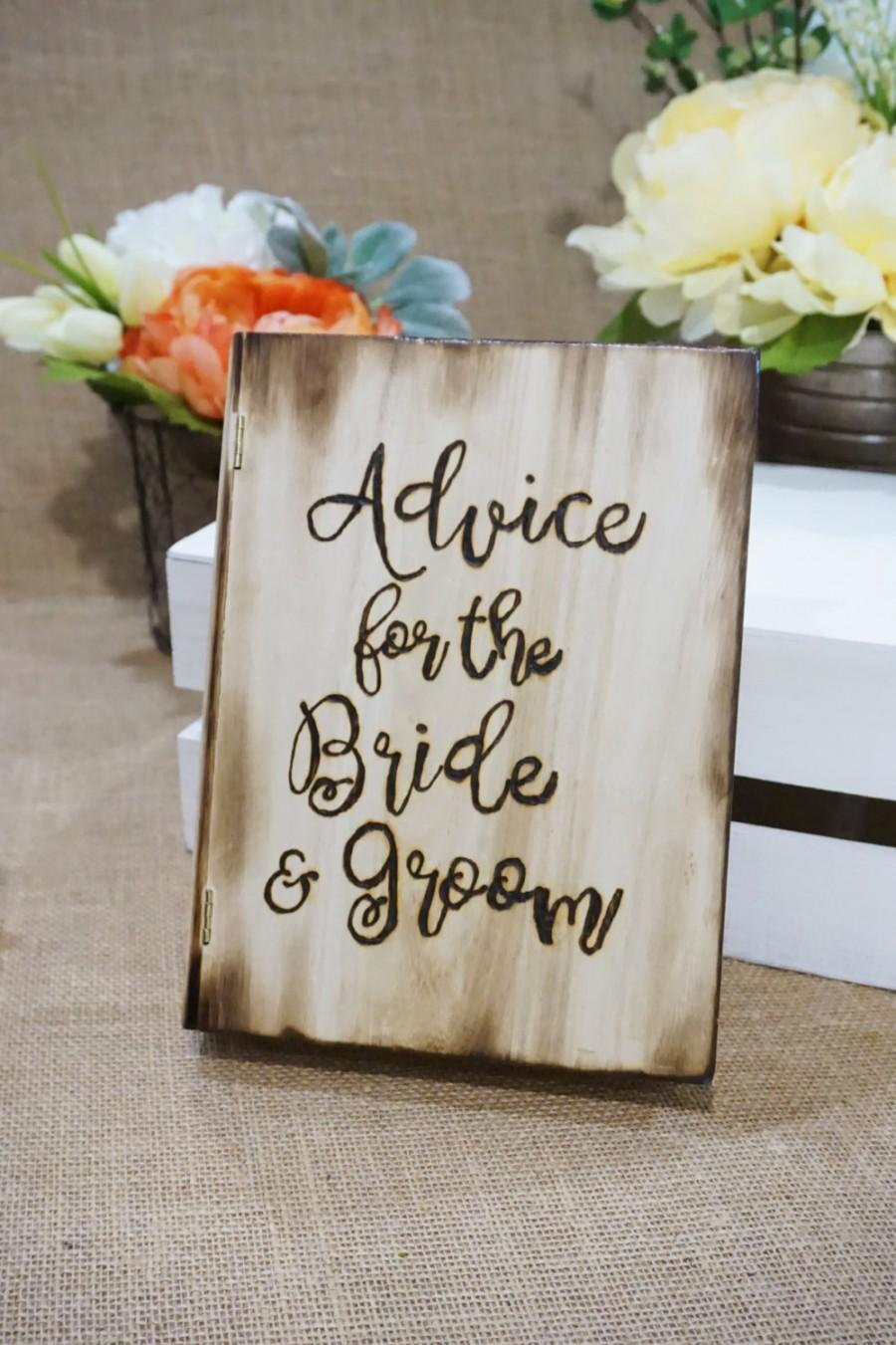 Mariage - advice for the bride & groom wood book box,  wooden guest book. rustic chic wedding, shabby chic wedding, country wedding, garden wedding