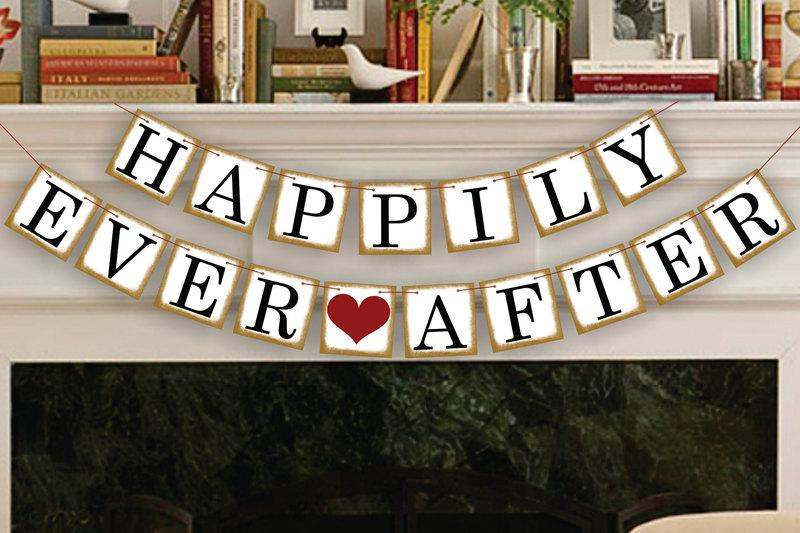 Mariage - Happily Ever After Banner - Wedding Banners - Wedding Photo Prop - Wedding Sign - Reception Garland
