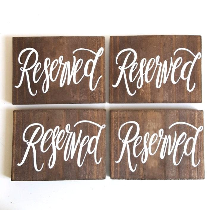 Wedding Reserved Sign Rustic Wooden Seating Reception Decor