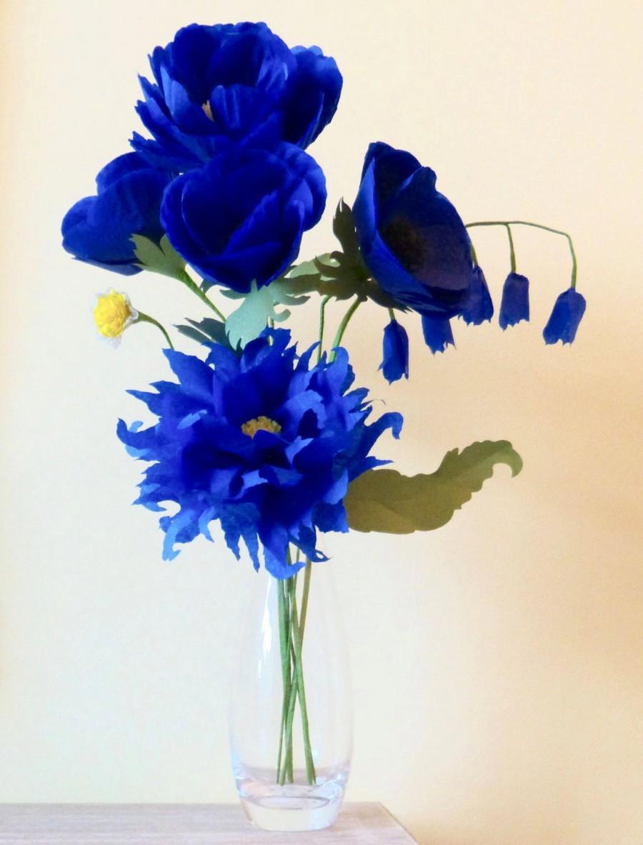 Royal Blue Paper Flowers Paper Dahlia Paper Peony Paper Coral