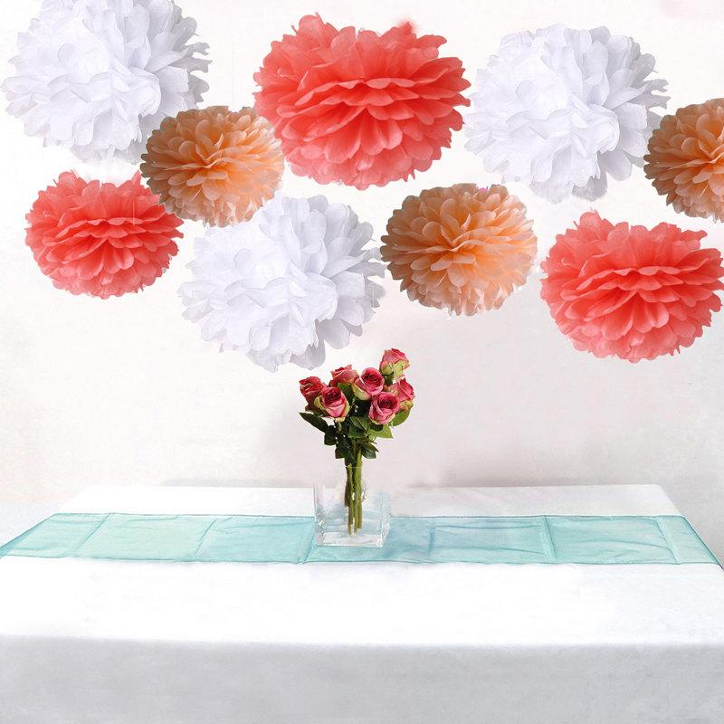 Bulk 18pcs mixed coral peach white diy tissue paper flower pom poms bulk 18pcs mixed coral peach white diy tissue paper flower pom poms wedding birtday bridal shower hanging party decoration mightylinksfo