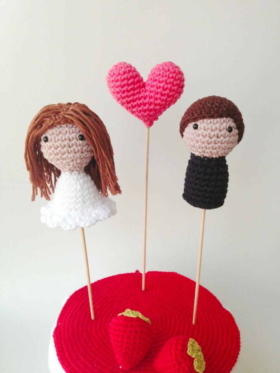 Mariage - Wedding Cake Toppers (Bride, Groom and One Heart)