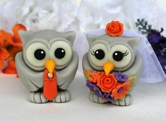 Wedding Owl Cake Topper, Personalized Love Birds, Fall Cake Topper ...