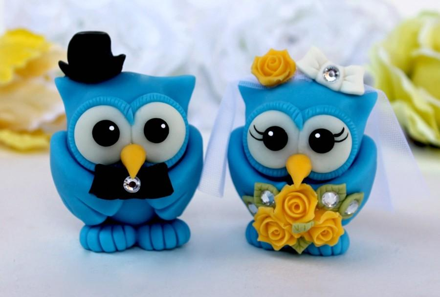 Mariage - Dazzling blue owl wedding cake topper, customizable love birds with banner