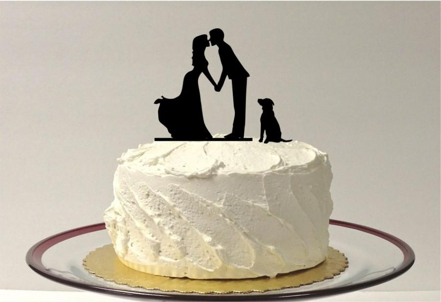 Hochzeit - Romantic Silhouette Wedding Cake Topper with Dog Pet Family of 3 Wedding Cake Topper Bride and Groom Cake Topper