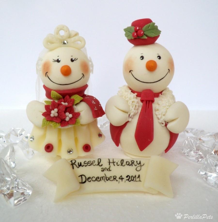 زفاف - Snowman wedding cake topper, personalized custom cake topper
