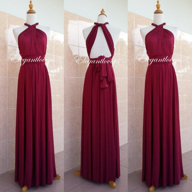 Convertible Dress Maroon Wedding Dress Bridesmaid Dress Infinity Dress Wrap Dress Evening