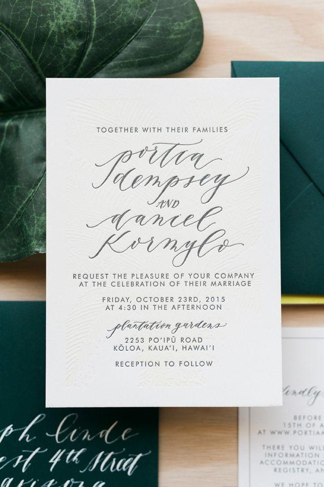 Wedding - Tropical Hawaiian Calligraphy Wedding Invitations