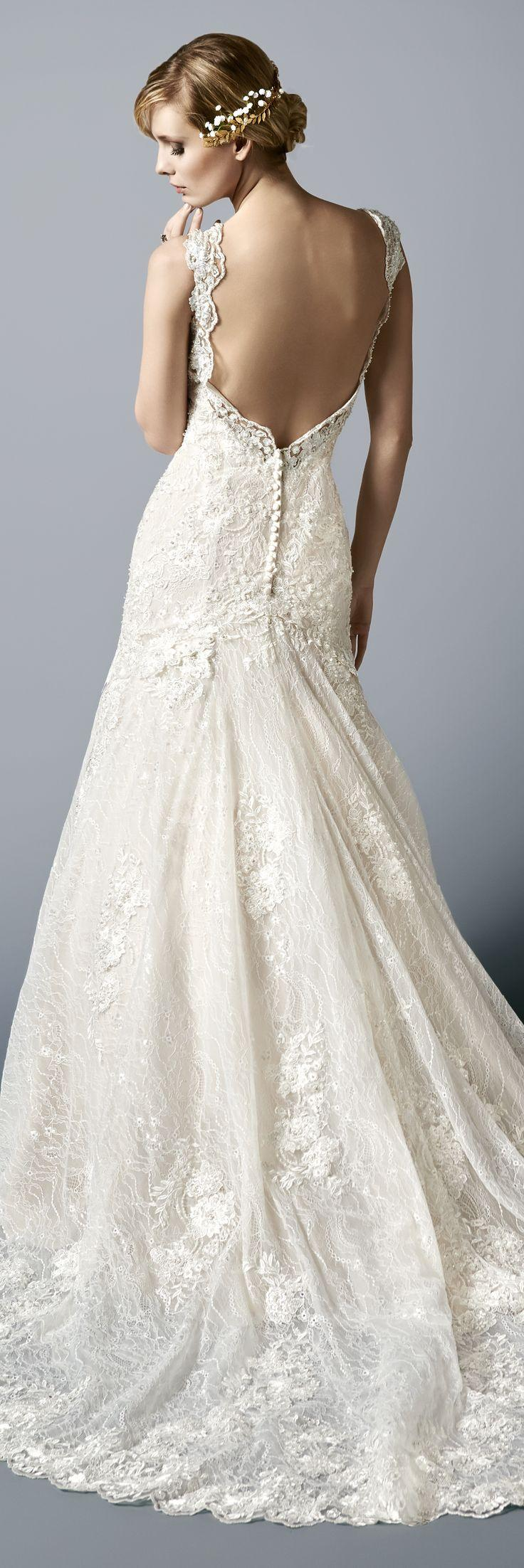 Low back lace mermaid wedding gown with cap sleeves for Low cut mermaid wedding dress