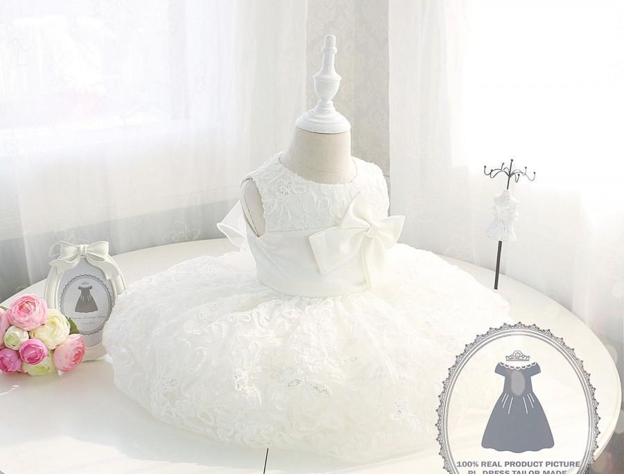Mariage - Beautiful ivory Lace Toddler Dress for Wedding, first communion dress, Baptism Dress, Christening Dress,Newborn Girl Dress,PD001