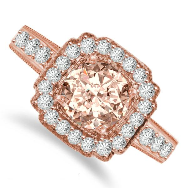 Boda - Vintage/Antique Morganite & Diamond Engagement Ring 14k Rose Gold for Women - Morganite Rings Pink Gold - Raven Fine Jewelers