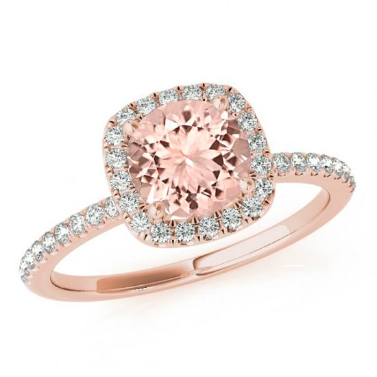 Round Morganite & Cushion Diamond Halo Engagement Ring 14k Rose Gold Mo