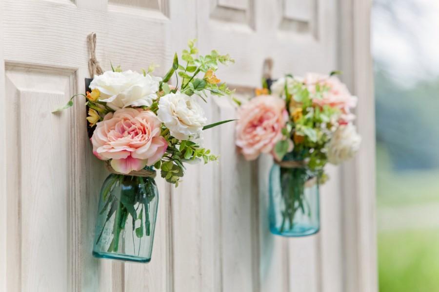 Mason Jar Fl Centerpiece Peach Flower Arrangement Yellow Rustic Wedding Décor Country Barn Aisle Hanging Jars