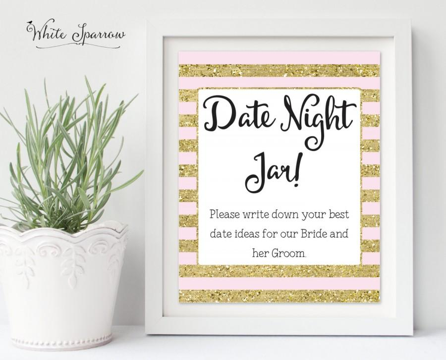 Date Night Jar Sign Gold Bridal Shower Decorations Ideas