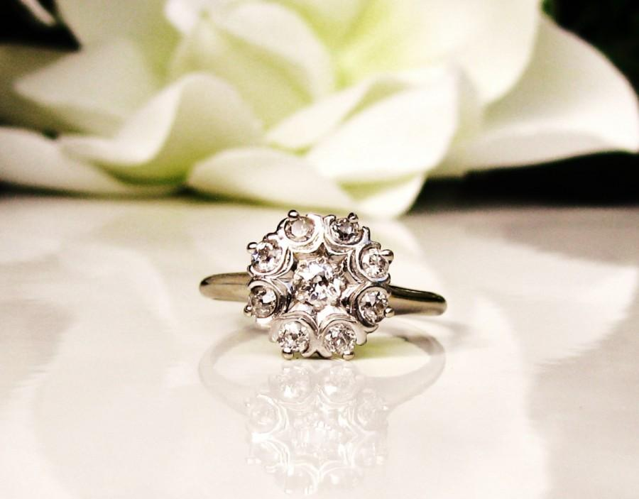 Mariage - Antique Engagement Ring 0.46ctw Old Mine Cut Diamond Cluster Ring 14K White Gold Daisy Diamond Wedding Ring Size 8!