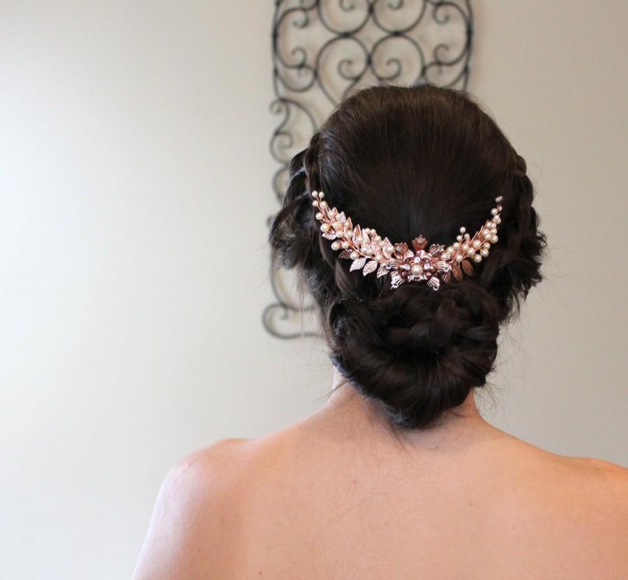 Rose Gold Bridal Hair Comb Rose Gold Headpiece Wedding Hair Accessory Leaf Headpiece Grecian Head Piece Hair Vine Swarovski Hair Comb 2510694 Weddbook