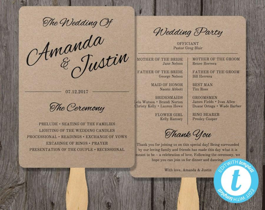 Rustic Wedding Program Fan Template, Fan Wedding Program Template