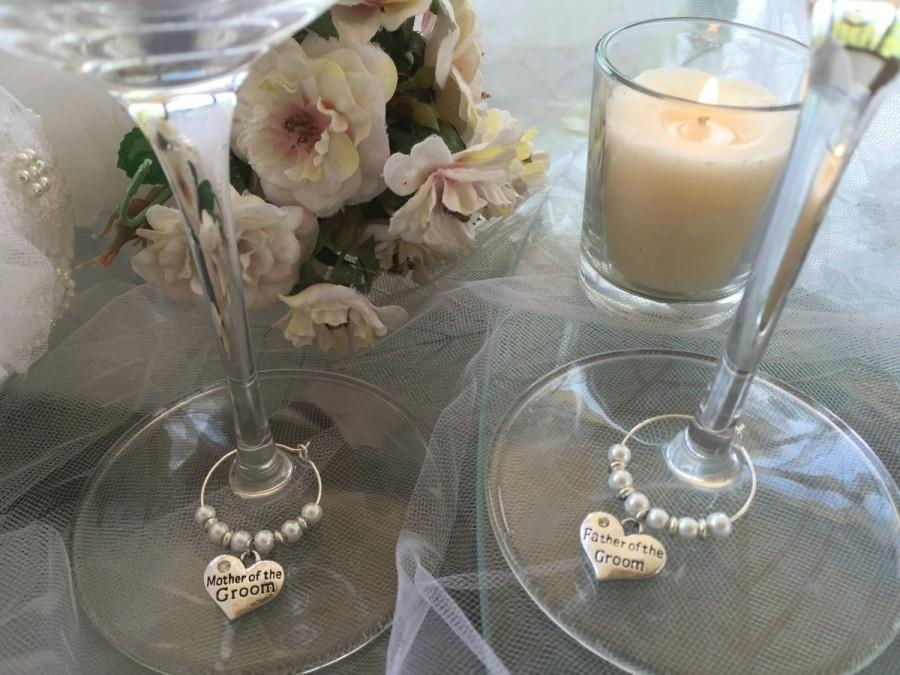Mother Father Of Groom Set Of 2 Charms Winechampagne Glass