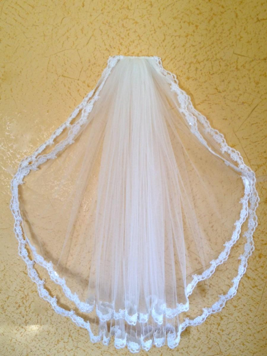 Свадьба - Lace veil in two tier with beaded lace edge, super wide, white or ivory, hip length